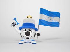 Soccer character fan supporting honduras Stock Illustration