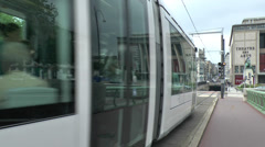 Close-up of passing tram (with audio) in Rouen, Seine-Maritime, France. Stock Footage