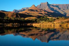 Sandstone mountains and reflection Stock Photos