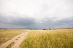 Stormy skies over farm land Stock Photos