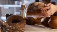 stock footage food Still life with bread and ears - stock footage