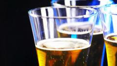 3 glasses of beer rotate, top Stock Footage