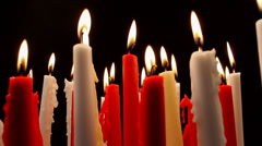Burning Candle Flames Slow Zoom Out Stock Footage