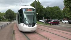 Tram passing (with audio), in Rouen, Seine-Maritime, France. Stock Footage