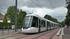 Tram pulling into tram stop (with audio), in Rouen, Seine-Maritime, France. Stock Footage