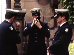 Australian Police Standing Outside Court Room 1982 Stock Footage