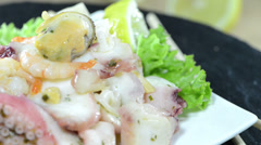 Portion of seafood salad (not loopable) Stock Footage