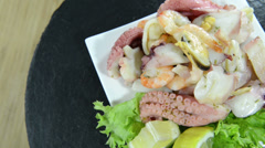 Mixed seafood salad (not loopable) Stock Footage