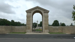 Main entrance to the CWGC Ranville War Cemetery, Ranville, Calvados, France. Stock Footage