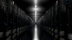 Data center servers endless corridor dark loop centre Stock Footage
