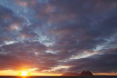 Midnight sun cloudscape - stock photo