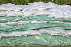 wall of sandbags - stock photo
