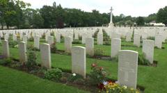 The CWGC Ranville War Cemetery, Ranville, Calvados, France. Stock Footage
