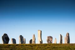 Stone Circle at Callanish, Isle of Lewis, Outer Hebrides. Photographed in evenin - stock photo