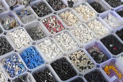 Plastic parts bins Stock Photos