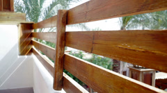 Wooden railing on the facade of the house Stock Footage