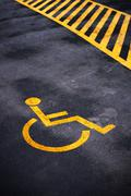 Disabled person parking place permit mark - stock photo