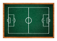 Stock Photo of Soccer field on green chalkboard