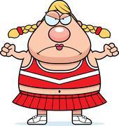 angry cartoon cheerleader - stock illustration