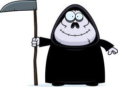 smiling cartoon grim reaper - stock illustration