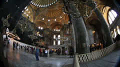 Time lapse Tourist Visiting Historic Famous Monument Hagia Sophia Interior Shot Stock Footage