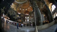 Time lapse Tourist Visiting Historic Famous Monument Hagia Sophia Interior Shot Stock Footage