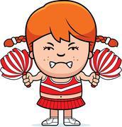 Angry cartoon cheerleader Stock Illustration