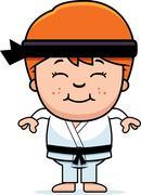 Smiling cartoon karate kid Stock Illustration
