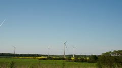 Five big windmills on standby Stock Footage