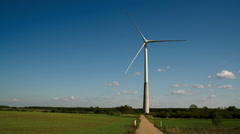 The wide field where the windmill is located Stock Footage
