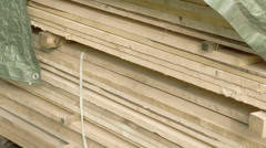 White lumbers from big logs Stock Footage