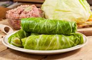 Stock Photo of raw cabbage rolls.