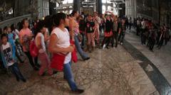 Tourist Visiting Historic Famous Monument Hagia Sophia Interior Shot 3 Stock Footage