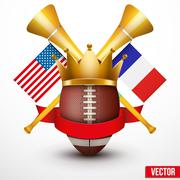 Announcement Sporting Poster with Football Ball. - stock illustration