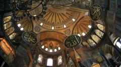 Tourist Visiting Historic Famous Monument Hagia Sophia Interior Shot 4 Stock Footage