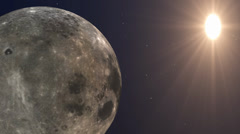 Sun Moon and Stars space background Stock Footage