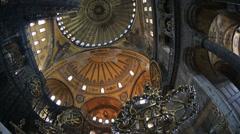 Tourist Visiting Historic Famous Monument Hagia Sophia Interior Shot 9 Stock Footage