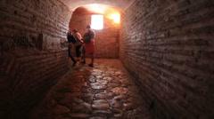Tourist walking in Hagia Sophia Corridor Stock Footage