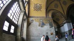 Tourist Visiting Historic Famous Monument Hagia Sophia Interior Shot 12 Stock Footage
