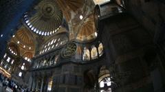 Tourist Visiting Historic Famous Monument Hagia Sophia Interior Shot 14 Stock Footage