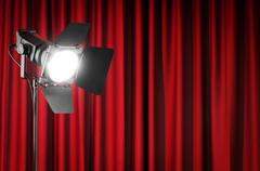 Curtains and projector lights wtih space for your text Stock Photos