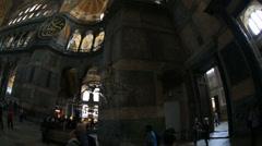 Tourist Visiting Historic Famous Monument Hagia Sophia Interior Shot 15 Stock Footage