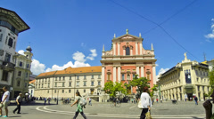 Preseren Square with Franciscan Church in Ljubljana, Slovenia Stock Footage