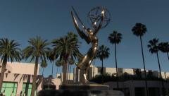 Emmy Statue Wide Shot Tilt Up Stock Footage