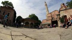 Time Lapse Tourist Visiting Historic Famous Monument Hagia Sophia Stock Footage