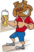bulldog man with glass of beer - stock illustration