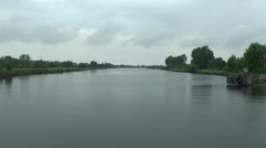 View along the Caen Canal from Pegasus Bridge, Normandy, France. Stock Footage