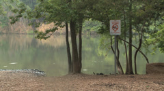 No swimming sign Stock Footage