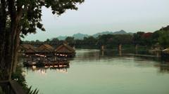 Thailand Bridge on River Kwai Stock Footage