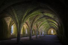 fountains abbey  cellarium - stock photo